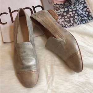 Pertini Silver Gold Leather Slip On Loafers 41